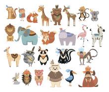 Set Of Cute Animals Indians. C...