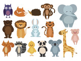 Fototapeta Fototapety na ścianę do pokoju dziecięcego - Set of animals. Collection of cartoon animals. Residents of the forest and the jungle. Vector illustration of animals for children. Zoo.