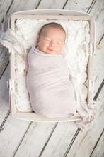 Smiling Newborn Baby Girl Slee...