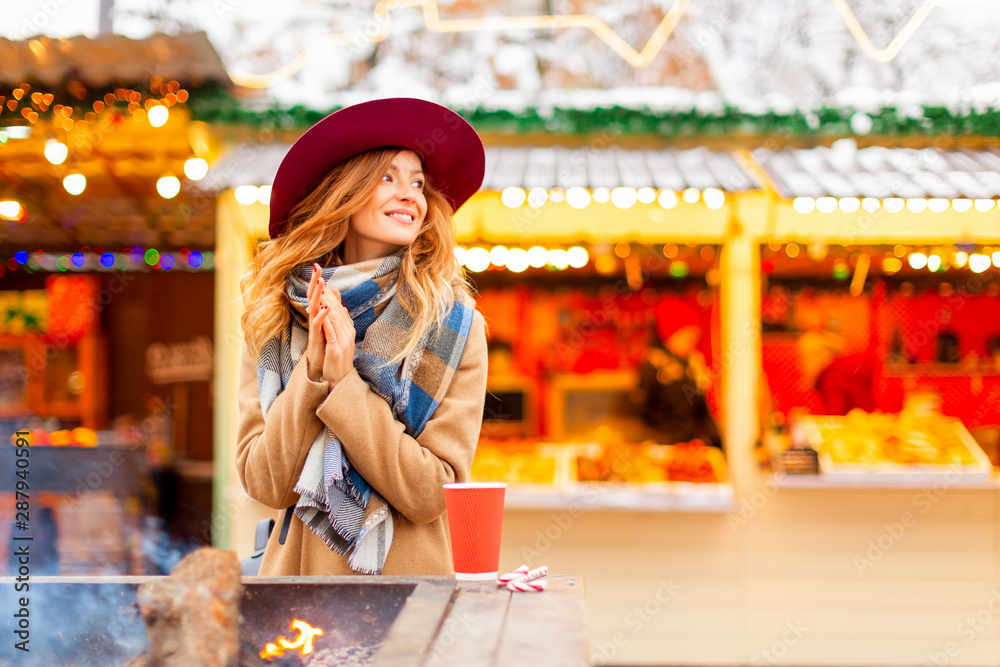 Fototapeta  happy autumn  girl in a hat. portrait young woman in the city. outside - Image