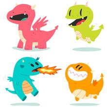Cute Dragons Vector Cartoon Ch...