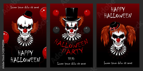 Photo  Set of vector illustrations with clowns for Halloween