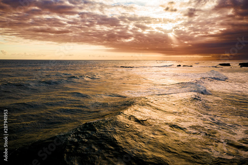 Fototapety, obrazy: Dramatic sunset over a tropical ocean aerial, Bali, Indonesia