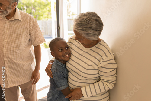 Grandmother embracing her grandson at home