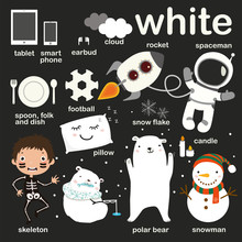 Learn White Color, Educate Color And Vocabulary Set, Illustration Of Primary Colors, Vector Illustration