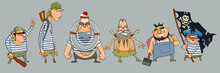 Cartoon Men Pirates In A Varie...