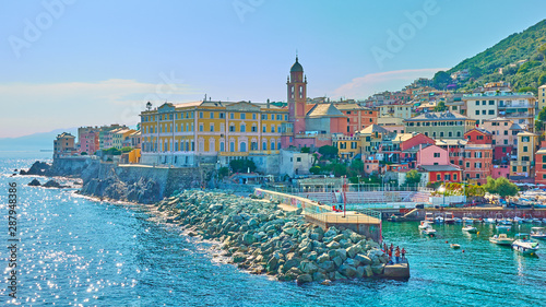 Panoramic view of waterfront in Genoa Nervi Tableau sur Toile