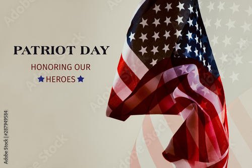 text patriot day honoring our heroes. Wallpaper Mural