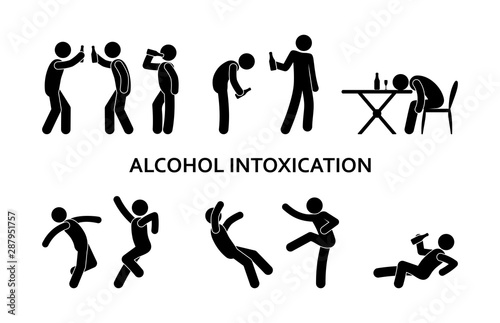 Fotografija drunken man behavior, fight, alcohol abuse illustration, stick figure people ico