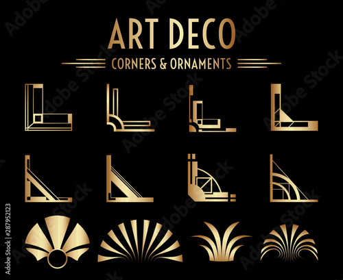 Tela  Geometric Gatsby Art Deco Corner and Ornament Set