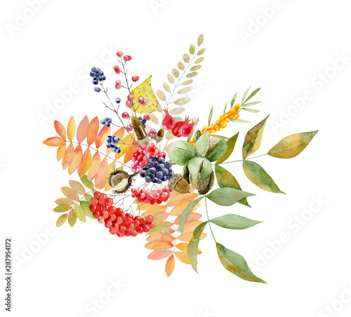 Watercolor handpainted fall arrangement of foliage and fruit