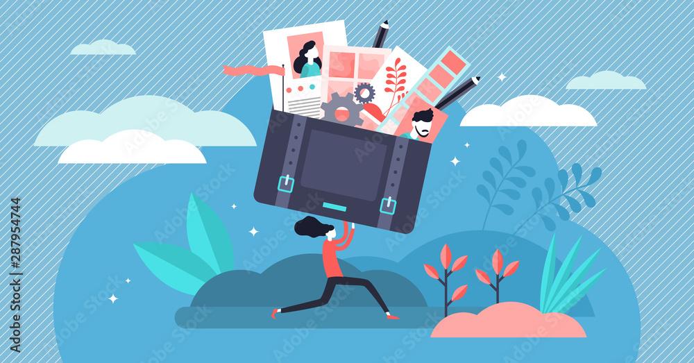 Fototapety, obrazy: Portfolio vector illustration. Tiny job preview presentation person concept