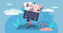 Portfolio Vector Illustration. Tiny Job Preview Presentation Person Concept