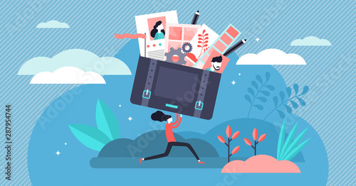 Fototapeta Portfolio vector illustration. Tiny job preview presentation person concept obraz