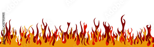 Fotomural  Colorful flames on a white background. Banner.