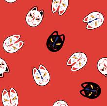 Japanese Magical Fox Mask Seamless Pattern