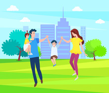 Happy Family, Mother, Father And Children Walking Together In Green Forest, Springtime Scenery Landscape. Vector Cartoon People, Mom And Dad, Daughter And Son. Flat Cartoon