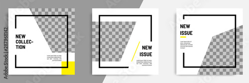 Tela Minimal layout square banner in black yellow frame color