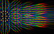 canvas print picture - Photo of the diffraction pattern of LED array light, comprising a large number of diffraction orders obtained by the thin phase gratings