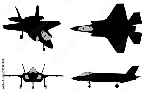 Vector fighters set Wallpaper Mural