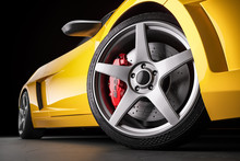 Yellow Sports Car . Wheel And ...