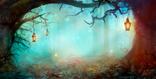 Halloween Design In Magical Forest