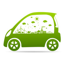 -Ecology Concept With Eco Car Environmental Cityscape Concept,Car Symbol With Green Leaves Around Cities Help The World With Eco-Friendly Idea