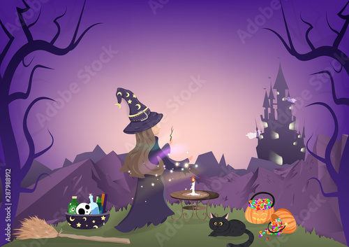 Poster Violet Halloween night, witch magic, dark forest and mountain landscape, cartoon character, fantasy story book, greeting card background vector