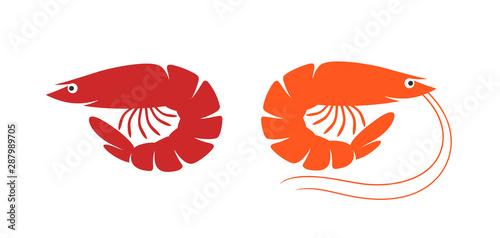 Shrimp logo. Isolated shrimp on white background. Prawns Wallpaper Mural