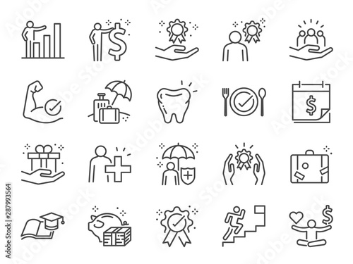 Fotomural  Employees benefits line icon set