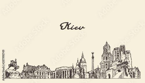 Kiev skyline Ukraine hand drawn vector city sketch