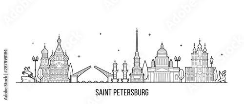 Saint Petersburg skyline Russia city vector linear