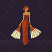Girl Circus Actress Show Cabaret. Stylish Vintage, Transparent Gradient. Plot From The Past. 1920s Fashion Magazine, Art Deco Style, Luxury, High Society Woman. Under The Circus Dome