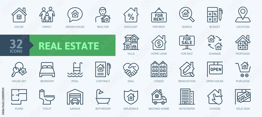 Fototapeta Real Estate minimal thin line web icon set. Included the icons as realty, property, mortgage, home loan and more. Outline icons collection. Simple vector illustration.