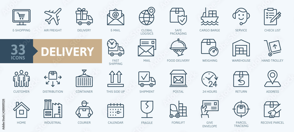 Fototapeta Delivery, shipping, logistics - minimal thin line web icon set. Outline icons collection. Simple vector illustration.