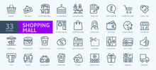 Market Shopping Mall - Minimal Thin Line Web Icon Set. Outline Icons Collection. Simple Vector Illustration.