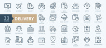 Delivery, Shipping, Logistics - Minimal Thin Line Web Icon Set. Outline Icons Collection. Simple Vector Illustration.