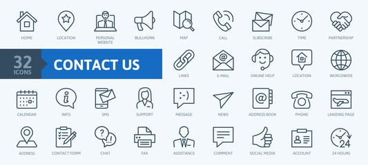 Contact us -  minimal thin line web icon set. Outline icons collection. Simple vector illustration.