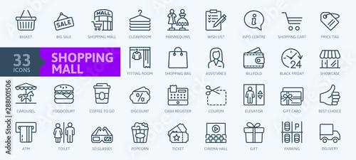 Fotografía  Market Shopping mall - minimal thin line web icon set