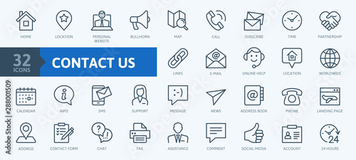Fototapeta Contact us -  minimal thin line web icon set. Outline icons collection. Simple vector illustration. obraz