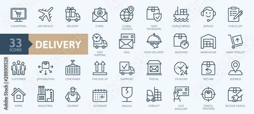 Fototapeta Delivery, shipping, logistics - minimal thin line web icon set