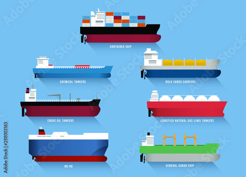 Obraz Set of transportation cargo ships, including container ship,  chemical tankers,  bulk cargo carriers, crude oil tankers, liquefied natural gas (LNG) tankers, ro-ro ship and general cargo ship. - fototapety do salonu