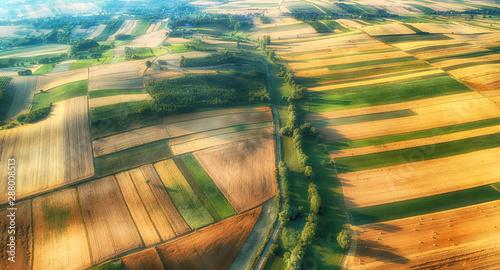 Foto auf Gartenposter Orange Drone aerial view - fields on the morning