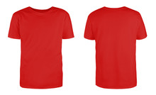 Men's Red Blank T-shirt Template,from Two Sides, Natural Shape On Invisible Mannequin, For Your Design Mockup For Print, Isolated On White Background...
