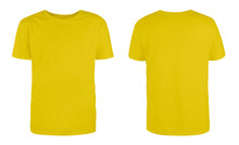Men's Yellow Blank T-shirt Template,from Two Sides, Natural Shape On Invisible Mannequin, For Your Design Mockup For Print, Isolated On White Background...