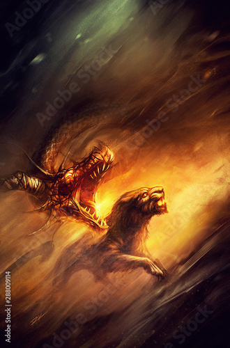 fantasy dragon and panther baring their teeth, side by side Tablou Canvas