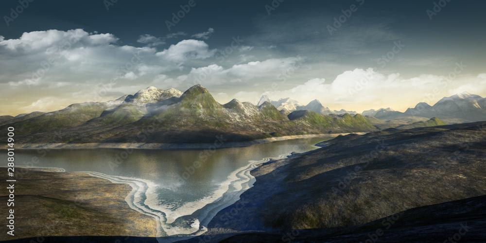 Fototapety, obrazy: fantasy landscape scenery without vegetation