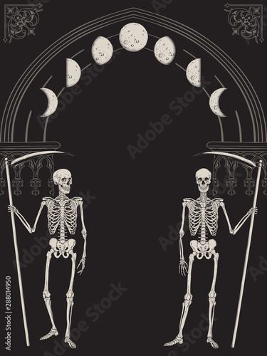 Cuadros en Lienzo Grim Reapers with the scythes in front of the gothic arch with moon vector illustration