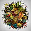 Leinwanddruck Bild - Cartoon doodles Latin America illustration