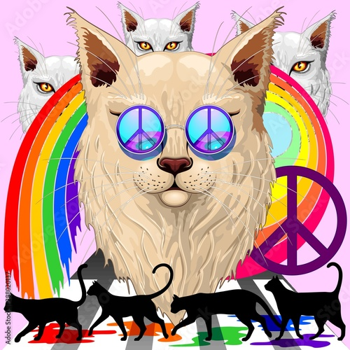 Foto op Canvas Draw 'Imagine' Cat Rainbow Peace and Love with the Four Liverpool Legendary Dudes Surreal Vector Illustration